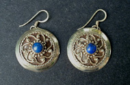 Tammy's Jewelry and Gem Box. Silver earrings with small blue lapis stones.
