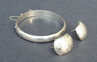 Tammy's Jewelry and Gem Box. Sterling silver bangle and earrings.